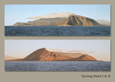 two paintings of the same island in different light